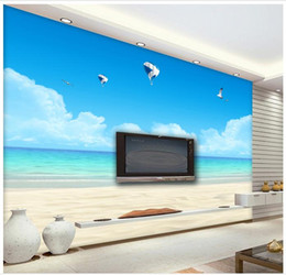 Wholesale Pictures Kids Bedrooms - 3D wall murals wallpaper custom picture mural wall Blue sky white clouds hot sea balloon gulls 3D living room wallpaper Free shipping