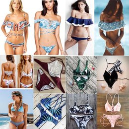 Wholesale Tassel Bikinis Sale - 83 styles new arrival fashion hot sale sexy flower Print Triangle two pieces Swimsuit lady sexy tassel Swimsuit bra Bikini free shipping