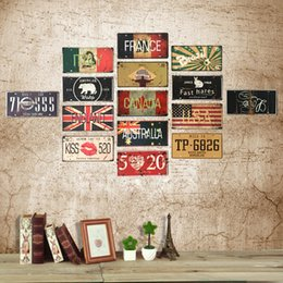 Wholesale Continental Painting - 2017 Continental retro iron crafts plate tin coffee shop clothing store Decor bar painting decorative painting murals