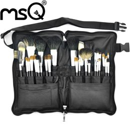 Wholesale Professional Make Up Belts - Msq Brand Professional Goat Hair 32Pcs High Quality Makeup Brushes Set High Quality Make Up Brush With Belt Bag Kits Beauty Tool