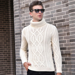 Wholesale Turtle Neck Sweaters Warm - 2017 New Men's Clothing Fashion Sweater Pullover Thick V Neck Knit Tops Color Warm Basic Knit for Autumn Winter 9032