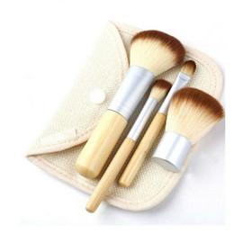 Wholesale Bamboo Blush Brush - 4PCS Natural Bamboo Handle Makeup Brushes Tools Kit Cosmetics Tools Set Powder Blush Brushes Pefect Touching Feeling