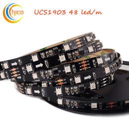 Schwarzes licht geführtes band online-UCS1903 LED-Lichtleiste 48LED / M Smart Ribbon Light SMD 5050 RGB-Lichtleiste Traumfarbe veränderbare Effekte wasserdicht schwarz PCB DC12V
