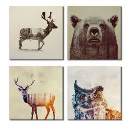 Ilustraciones de ciervos online-Cerveza Sika Deer Owl Artwork DIY 5D Diamante punto redondo Diamond Stitch Kit de herramientas mosaico de diamantes Obras de arte para la sala de estar y dormitorio decoración