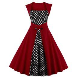 Wholesale black rockabilly plus size dress - New Plus Size S-4XL Vintage Women Dress 50s 60s Rockabilly Patchwork Polka Dot Summer Dress Elegant Tunic Vestidos DK3043MX