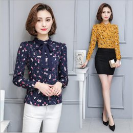 Wholesale Women S Bow Tie - Elegant Bow Tie Printing Floral Blouses & Shirts Women's 2017 Spring Shirt Ladies Long-sleeved Chiffon Blouse Fashion Women Tops