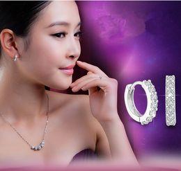Wholesale Diamond Single Row - Retro fashion S925 sterling silver jewelry Korean super flash diamond earrings single row of female models Earrings