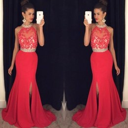Wholesale Light Blue Silk Flowers Cheap - Cheap Long Red Prom Dresses Mermaid 2017 High Neck Appliques Beaded Prom Dress With Split Sexy Open Back Party Dress Formal Evening Gowns