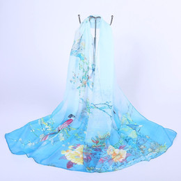 Wholesale Flowers Scarf - Soft Silk Scarf Wear Womens Ladies Medium Long Chiffon Scarf Stole Scrawl Flower Printed Wrap Scarves