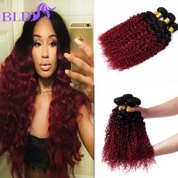 Wholesale Queen Like - Queen Like Ombre Hair Extensions Brazilian Kinky Curly Hair Two Tone 1B BG Ombre Human Hair Wave Bundles 3 Pcs Lot