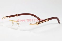 Wholesale Sports Sun Goggles - New 2017 Vintage Brand Designer Wood Sunglasses Mens Womens Buffalo Horn Sunglasses Rimless Sun Glasses With Original boxes Free Shipping