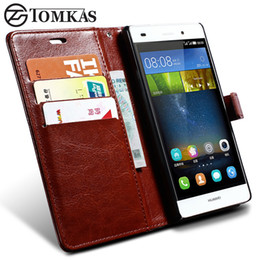 Wholesale Huawei Ascend Phone Cases - Wholesale- TOMKAS Wallet Leather Case For Huawei Ascend P8 Lite Flip Cover Coque Phone Cases For Huawei P8 Lite With Card Holders Luxury