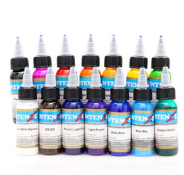 Wholesale Pigment Permanent - 14 colors  Lot tattoo ink set pigments permanent makeup 30ml cosmetic color tattoo ink for eyebrow eyeliner lip