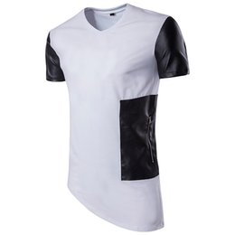 Wholesale Men S T Shirt Leather - Fashion Designs Panelled Tshirts For Men Brand Luxury Leather Zipper T Shirts Hip Hop Summer Pop Irregular Hem Clothing