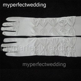 Wholesale White Off Wedding Gloves - High Quality Vintage Off White Long Bridal Gloves Soft Elastic Satin Full Finger Elbow Length Wedding Party Glove Accessories Free Shipping