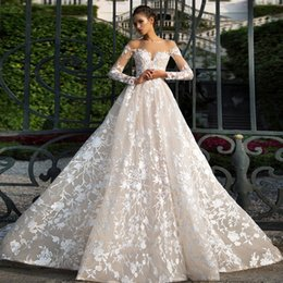 UK palace wedding dress - 2017 Lace Wedding Dress Long Trailing Luxury Off Shoulder Long Sleeves Slim Palace Bridal Gowns
