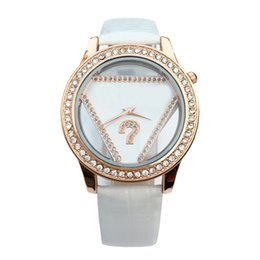 Wholesale Watches Fashion Triangle - Fashion Brand women's Girl triangle crystal style dial leather strap quartz wrist watch GS05