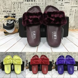 Wholesale Cheap Women Bag Fashion - 2017 Cheap (Dust Bags+ Box) Puma Rihanna Fenty Slippers,Fashion LEADCAT Fur Slide Slippers,Women Indoor Slides Sandals shoes size 36-44