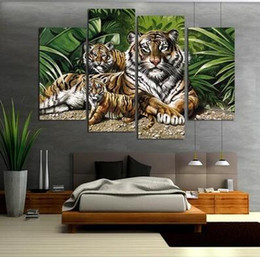 Wholesale Tiger Canvas Art - Pop Art Hot Sell Painting Tiger Painting On Canvas Print painted Lovely Animal Paintings For Living Room Home Decorations