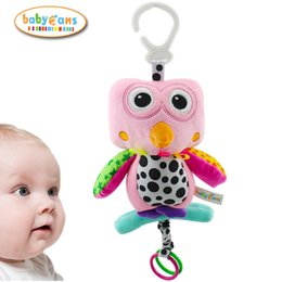 Wholesale Owl Crib - Wholesale- Baby Toys Musical Crib Mobile Stroller Cot Bed Hanging Soft Pink Owl Stuffed & Plush Rattles Toy For Newborn Babies 0-12 Months