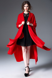 Wholesale Size Coat Maxi - New Fashion Femme Cape Jacket Black Red Wool Cloak Womens Irregular Cloak Clothing for Women Plus Size Maxi Winter Cloak Style Coat
