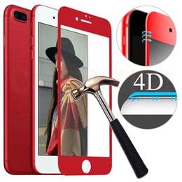 Wholesale Iphone Glass Screen Dhl - For iPhone 7 7 Plus note8 4D Full Coved Tempered Glass Red Screen Protector Film With Package iPhone 7 Protector Top Quality DHL