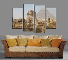 Wholesale Egypt Canvas - 4pcs set Unframed Egypt The Great Sphinx and Pyramid Print On Canvas Wall Art Picture For Home and Living Room Decor