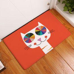 Wholesale Red Carpet Entrance - 7 designs red cat entrance doormat fluffy velvet rug decorative indoor and outdoor carpet kitchen toilet accessories