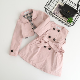 Wholesale Trench Style Dresses - Everweekend Kids Girls Vintage Trench Dress with Jackets 2pcs Sets Candy Color Autumn Winter Cute Children Fashion Clothing