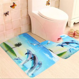Wholesale Sea Shell Bathroom - Wholesale-Dolphin Coconut Shell Sea Beach 2 Pieces Soft Bath Mat Set Toilet Rug Bathroom Contour Mat The Best Quality