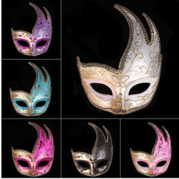 Wholesale Pink Lace Face Mask - Wholesale- Mysterious Angel 5 Colors Phoenix mackn Sexy Mask Halloween Party Lace Masquerade Hollow Masque Fancy Dress Venetian Carnival
