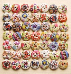 Wholesale Bead Assortment - 600 hand Painted Wood wooden Buttons Floral kitsch fancy Assortments 15mm 2 holes beads wholesale free shipping