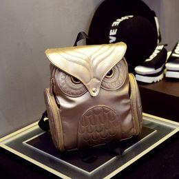 Wholesale Kid Cute Leather Backpacks - 2017 Girl's Pu Leather Owl Cartoon Backpack School Cute Fashion Mini Bags For Teenagers Girls Kids Women Back Pack Bag