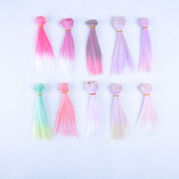 Wholesale Wholesale Bjd Wig - New Fashion 15cm*100cm DIY Long Ombre Straight Gradient Hair DIY Hair Extension Wigs For 1 3 1 4 1 6 BJD Doll Accessories Hot