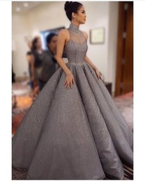 Wholesale Burgundy Pleated Skirt - Bling Bling Shiny Evening Dresses Ball Gown Beaded Sheer High Neck Ruffle Skirt Sequins Floor Length Prom Gowns