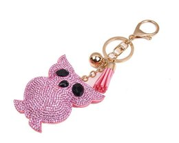 Wholesale Resin Boy Ornament - 2017 Lovely ornament set auger diamond owl car keys pendant rhinestone cat leather keychain YCK2