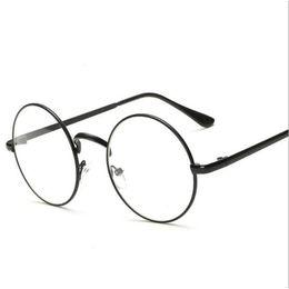 Wholesale Clear Framed Nerd Glasses - Peekaboo Cheap small round nerd glasses clear lens unisex gold round metal frame glasses frame optical men women black uv oculos