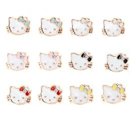 Wholesale Hello Crystal Earrings - Newest fahion cute women girls lovely kitty cat stud earrings fashion hello kitty ear jewelry free shipping wholesale with colorful
