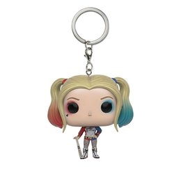 Wholesale Toy Cartoon Clowns - Suicide Squad Clown Girl Doll Harley Quinn Cartoon Keychain Funko Pop Pendants Toy Keychain Creative Decorations Christmas Gifts