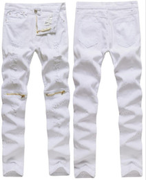Wholesale New Black Trouser Jeans Men - Wholesale-New Mens White Ripped Jeans 100% Cotton Distressed skinny jeans Thinning Cargo Zipper Above Knee Hip-Hop Male Trousers Jeans