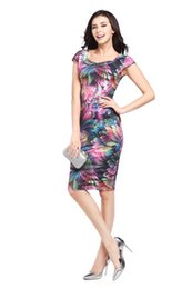 Wholesale Sexy Office Wear Womens - New 2017 Womens Summer Elegant Print Floral Sheath Dresses Ladies Slim Knee-Length Sexy Office Pencil Bodycon Casual Party Dress