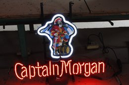 Wholesale Neon Bar Lights Captain - neon sign CAPTAIN MORGAN real glass tube light handmade bar beer club in the wall game room