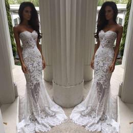 Wholesale Heavy Wedding Dresses - Romantic Boho White Mermaid Wedding Dresses Heavy Embellishment Bridal Dress Full Lace Applique Backless Illusion Bodice Wedding Gowns 2017