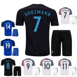 Wholesale Short Black Cup - Top Thai quality 17 18 World Cup France soccer Jersey kits GRIEZMANN home blue POGBA MARTIAL KANTE PAYET 2018 away 3rd black football shirt
