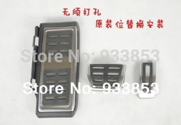 Wholesale vw pedals - Wholesale-2014 Stainless Steel Automatic Transmission AT Pedal (Include Footrest+Gas+Brake Pedal) For LHD VW Golf MK7 7 VII
