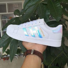 Wholesale bright cotton fabric - 2017 Classic style Sport women casual shoes superstar shoe lace up women men flats Bright laser shoes Size 36-40
