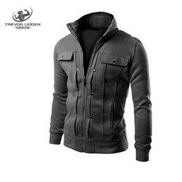 Wholesale Double Collar Hoodie Men - Wholesale-2016 Hoodies Men Sweatshirts Brand Moleton Masculina Spring Zipper Solid Fashion Fake Pocket Design Men's Sudaderas Hombre