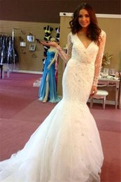 Wholesale Hot Long Tail Wedding Dresses - Modest Sparkle Beading Sequins Wedding Dresses Puffy Skirt Fish Tail Crystal V Neck Long Sleeve Bridal Gowns Hot Sale