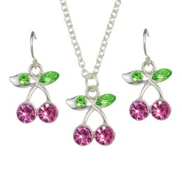 Wholesale Cute Halloween Customs - Custom Cherry Shape Fashion Jewelry Set with Rhinestones Cheap Wholesale New Style Cute Cherry Earrings Necklace Combination Set