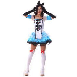 Wholesale Gloves Lolita - Women Blue Fancy Dress Lolita Cosplay Costume Sexy Halloween Maid Uniform Adult Fairy Tale Costume Tutu Dress With Gloves